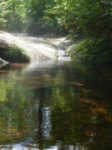 溝になった流れが深いプールに流れ込む