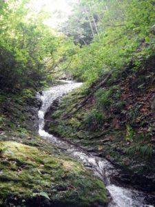 ナメの途中に懸かるナメ滝