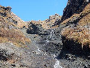 終盤の2段の滝